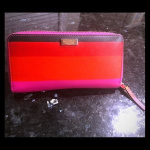 Kate Spade ♠️ Red & Pink Striped Wallet